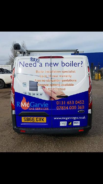 The back of our van gives you an idea of the warranty and boilers we have to offer #BAXI